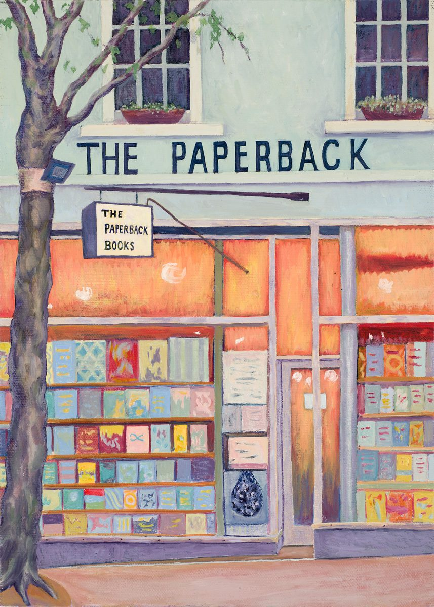 Paperback bookshop, Bourke St. Melbourne Oil on linen 25 x 35 cm