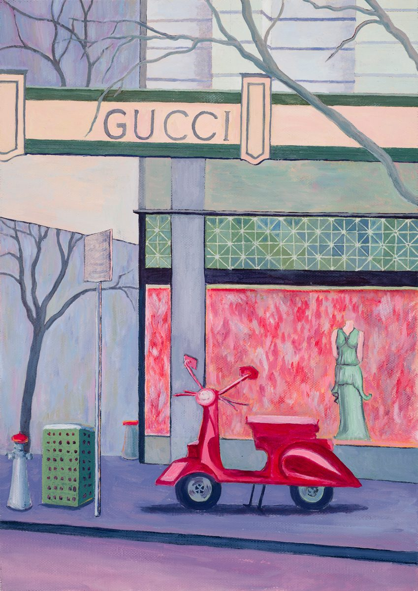 Gucci, Collins St. Melbourne, Oil on linen 25 x 35 cm