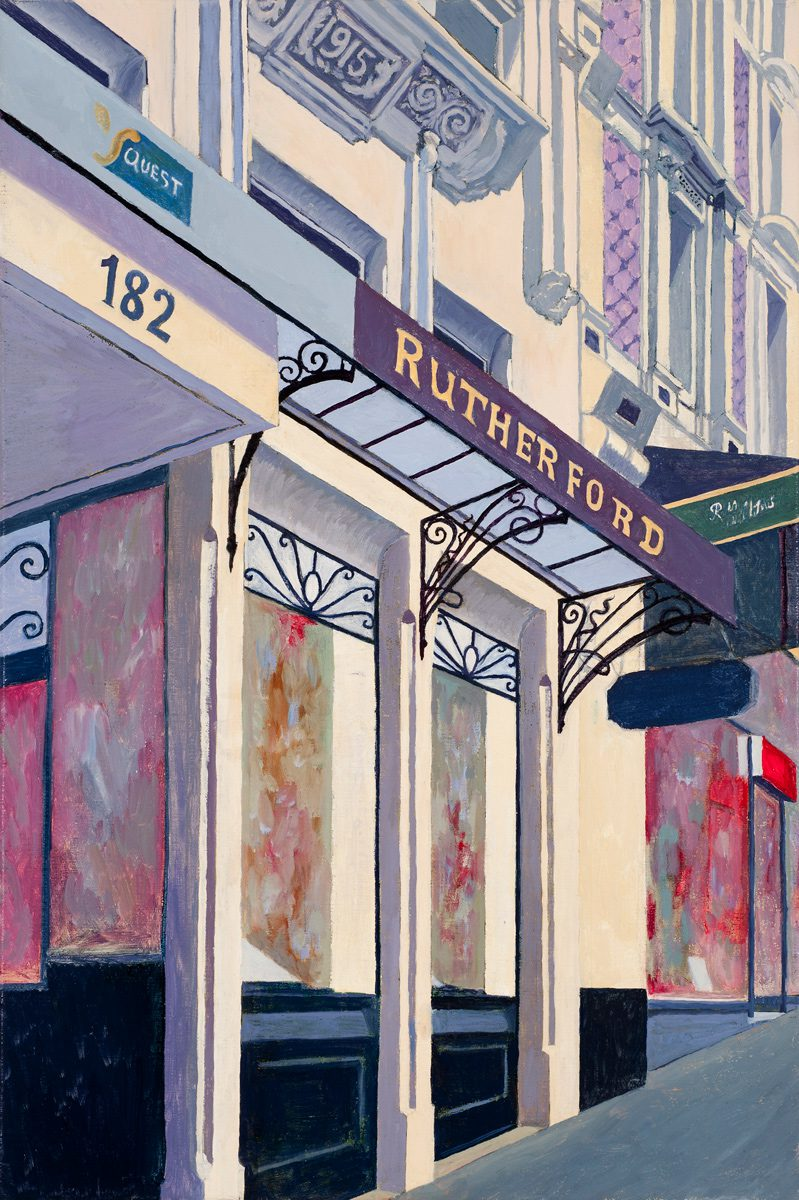 Rutherfords, Collins St. Melbourne, Oil on linen 30 x 45.5 cm