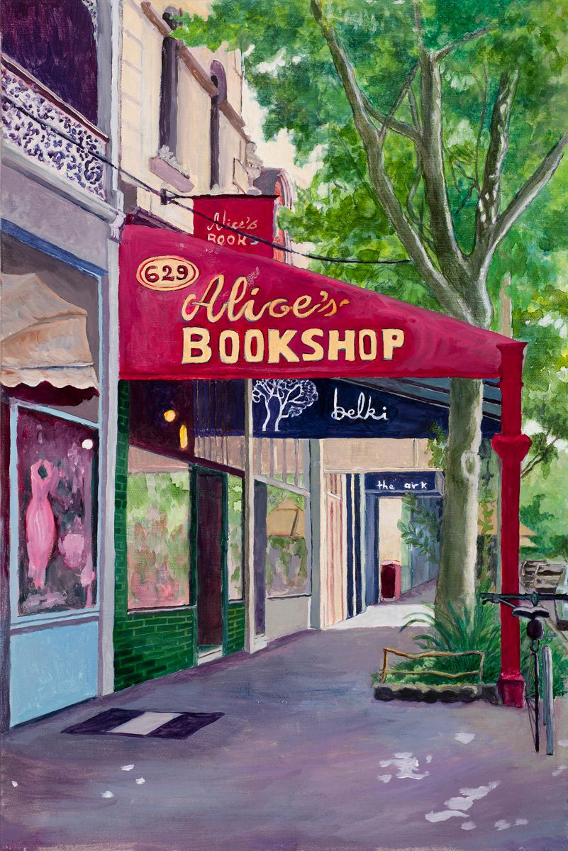 Alice's Bookshop, Rathdowne St. Oil on linen 30 x 45.5 cm
