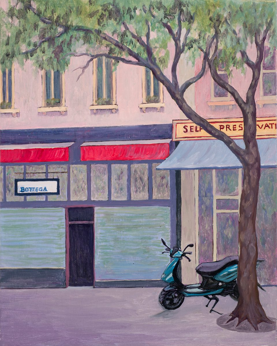"""Bottega,"" Bourke St. Melbourne Oil on board 20 x 25 cm"