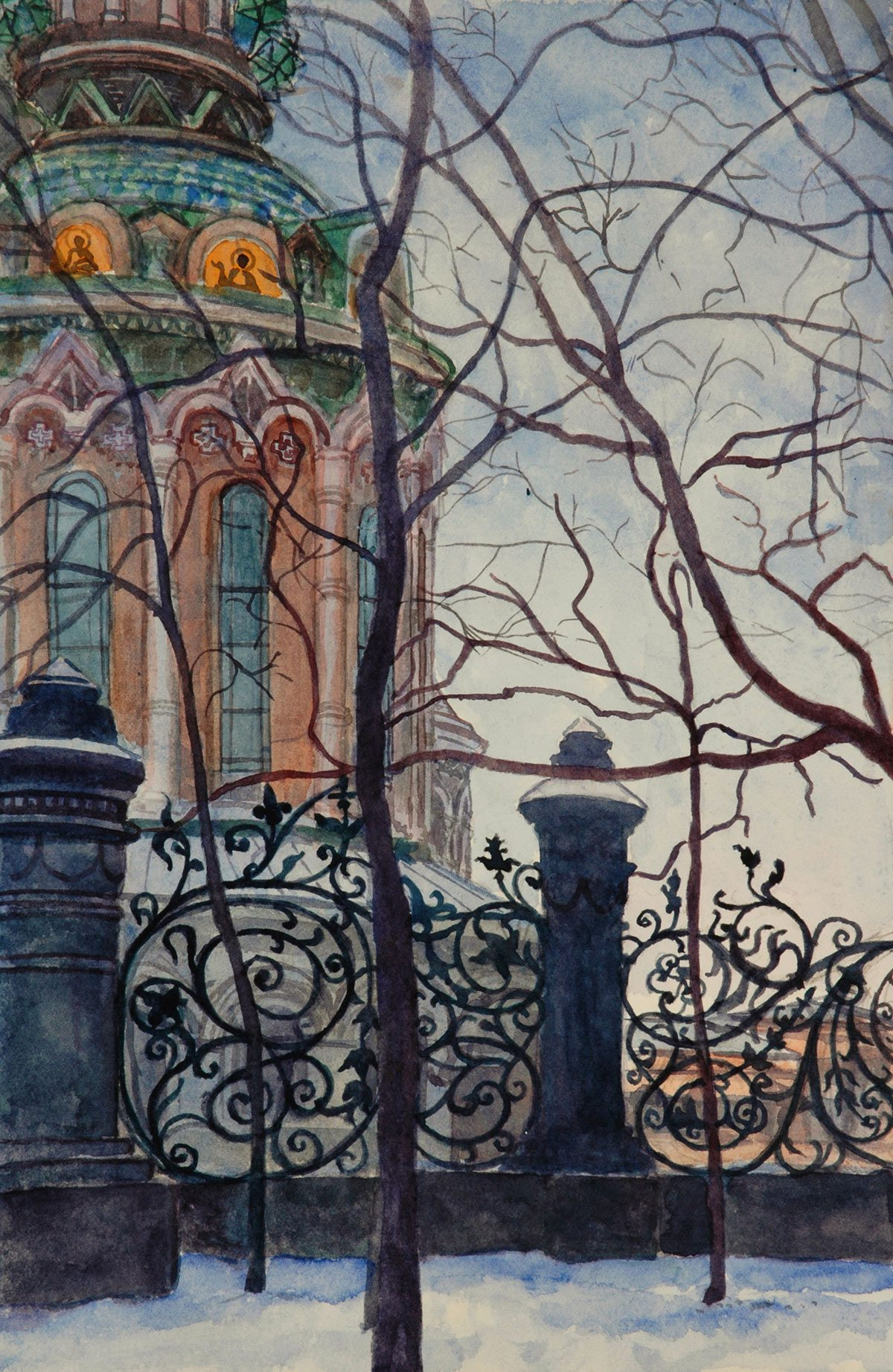 Cathedral with iron laceWatercolour and gouache